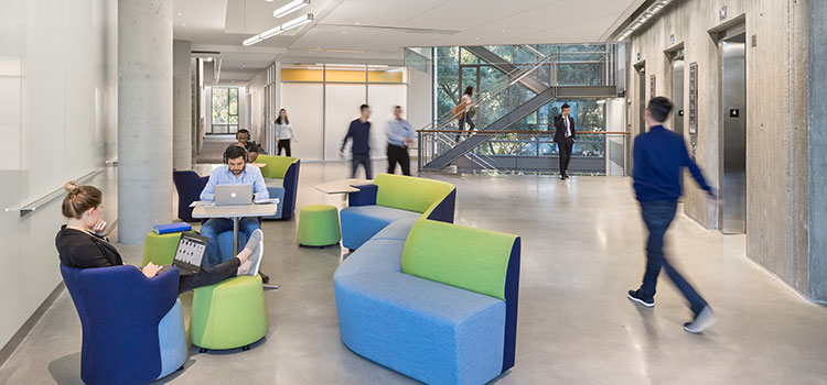 Open shared space inside Chou Hall at the Haas School of Business